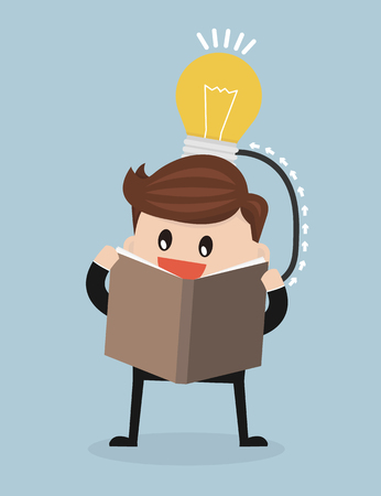create idea: Vector cartoon of man reading a book which create idea, flat design.
