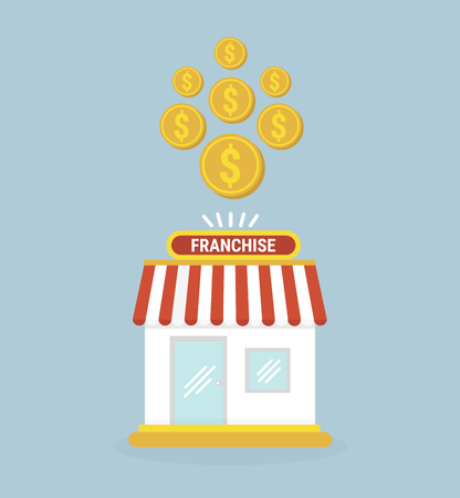 yielding: Franchise business. small store and gold coins. Illustration