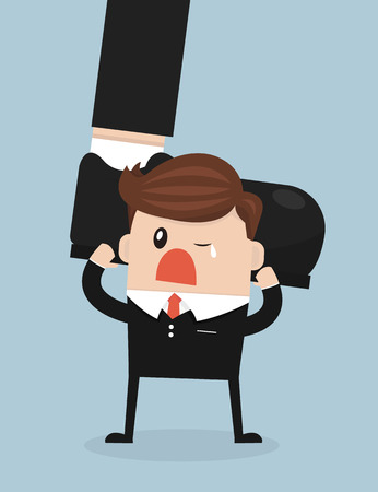 weighty: Businessman holding big businessman foot, flat design Illustration