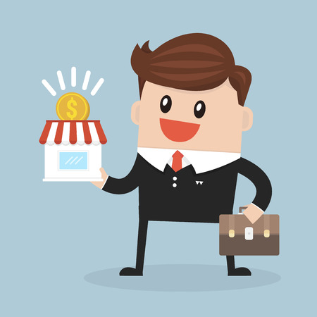expand: Businessman want to expand his business, Franchise Concept. vector. flat design