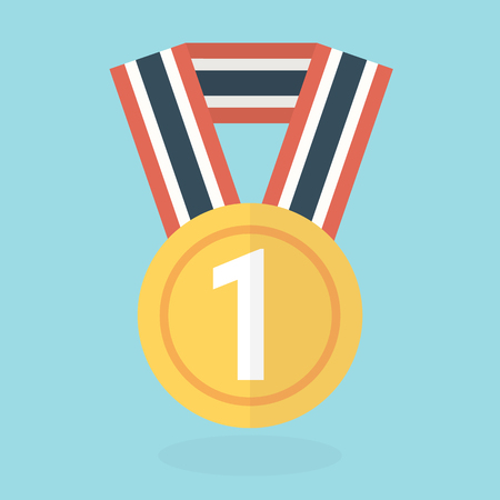 conquering: Medal icon, flat design, vector Illustration