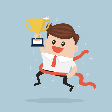 concurrence: Businessman crossing finish line and holding trophy.