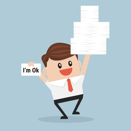 working hard: businessman holding many paper in hand and working hard. Illustration