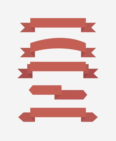 red flag up: Red ribbon set, flat design vector. Illustration