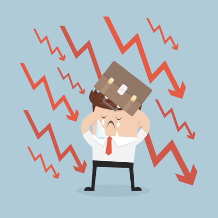 exchange loss: Businessman hiding his head for the portfolio from falling arrows. Illustration