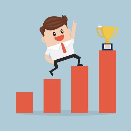 climbing ladder: Businessman climbing ladder to success.