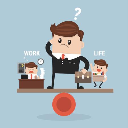 Businessman balance Work and life Иллюстрация