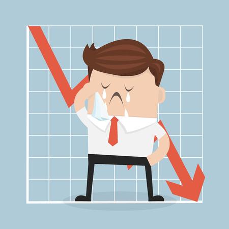 slump: Sad businessman with graph indicating a regression.