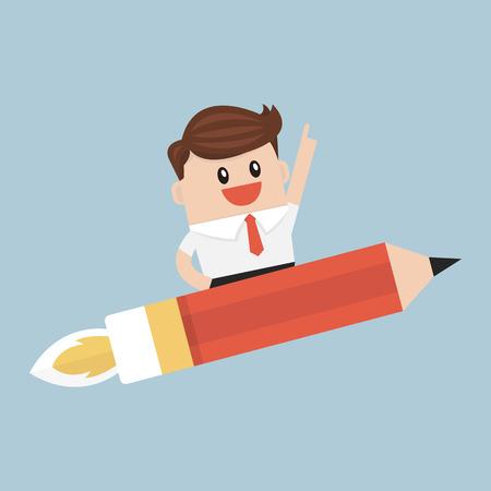 Businessman flying on a pencil rocket.