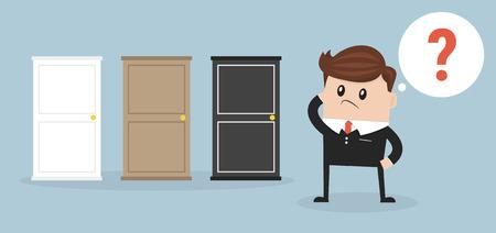 Geschäftsmann Wahl der richtigen Tür. Vektorgrafik