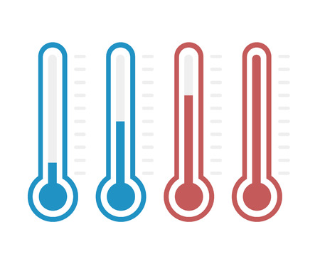 thermometers: illustration of thermometers with different levels, flat style