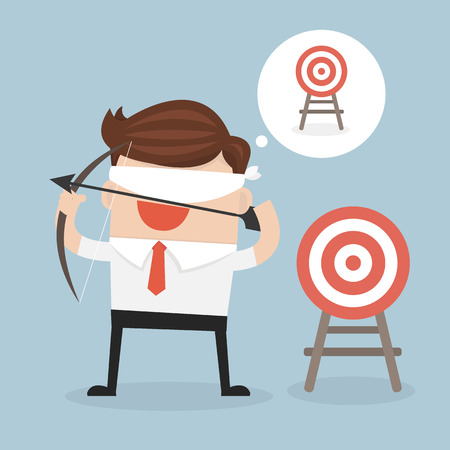 blindfold: Blindfold businessman holding bow and arrow look for target in wrong direction vector