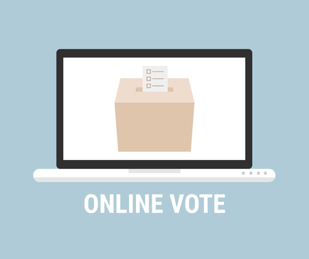 polling place: Voting online concept. Flat style