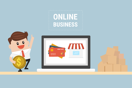 leverage: Online business. E-Business. Flat design Illustration