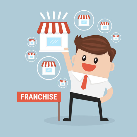expand: Businessman want to expand his business Illustration