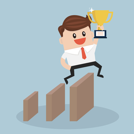 obstacle: Businessman jumping over obstacle. Illustration