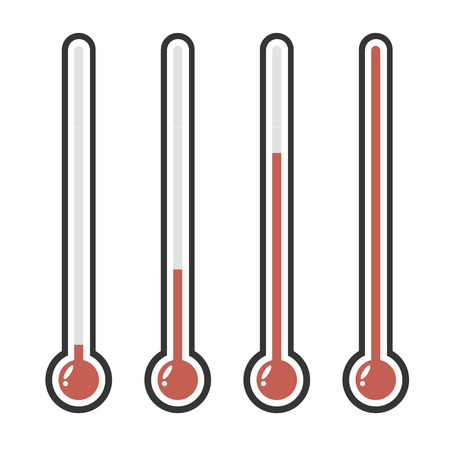 growth hot: illustration of red thermometers with different levels