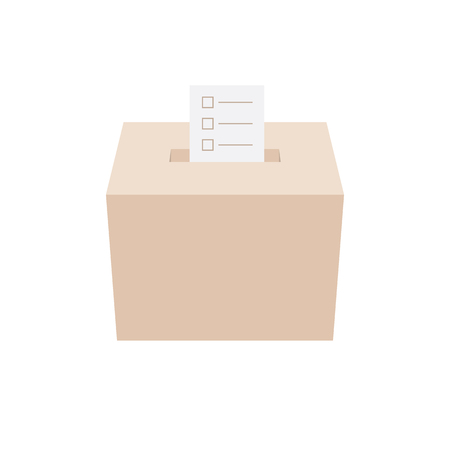 voting rights: ballot box with an envelope, white background Illustration