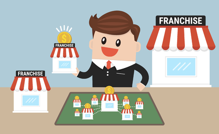 Businessman want to expand his business, franchise concept.