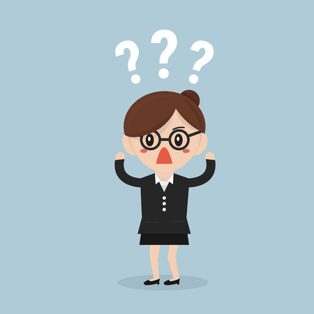 Businesswoman thinking of choice, flat design Vektorové ilustrace