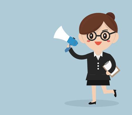 businesswoman with a megaphone, Business concept Illustration