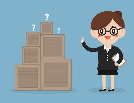 businesswoman standing: Businesswoman standing beside unknown box Illustration