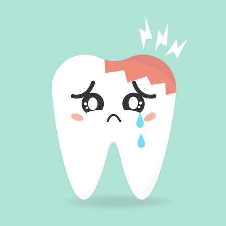 cartoon sick tooth. Decay and destroy tooth.
