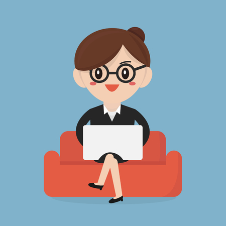 notebook computer: Businesswoman with computer notebook on the sofa. flat design.
