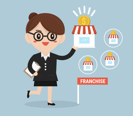 expand: Businesswoman want to expand his business, Franchise Concept.