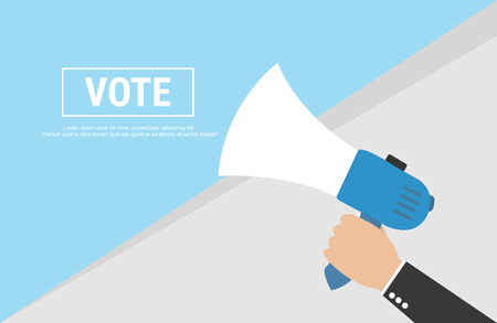 responsibility survey: Hand Holding Megaphone with VOTE Announcement Illustration
