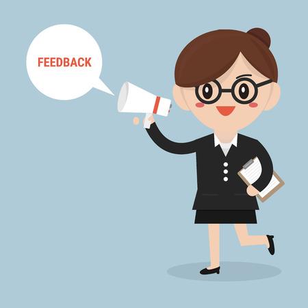 feedback: Feedback concept, businesswoman talk feedback