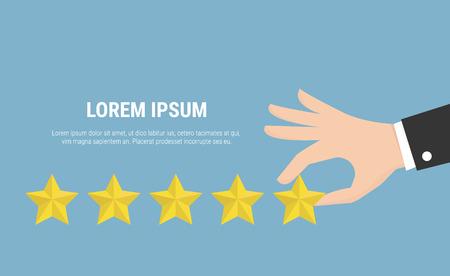 five star: Businessman hand giving five star rating Illustration