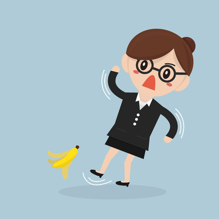 peel: Businesswoman slipping on a banana peel.