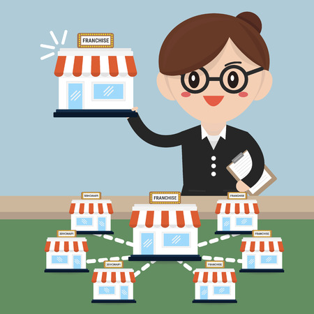 Business woman want to expand his business, franchise concept. business concept. flat design Illustration