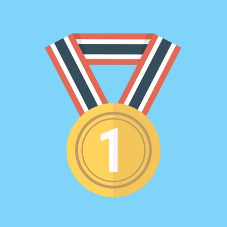 conquering: Medal icon, flat design