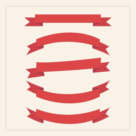 red flag up: Red ribbon set, flat design
