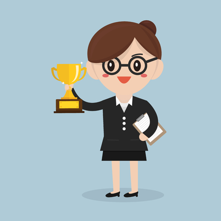 rewarded: Business concept, business woman holding trophy.