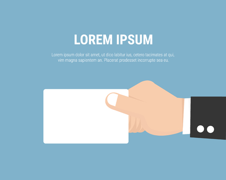hand holding business card: Hand holding business card. Flat icon modern design style illustration concept.