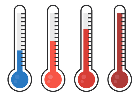 thermometers: illustration of red thermometers with different levels, flat style Illustration
