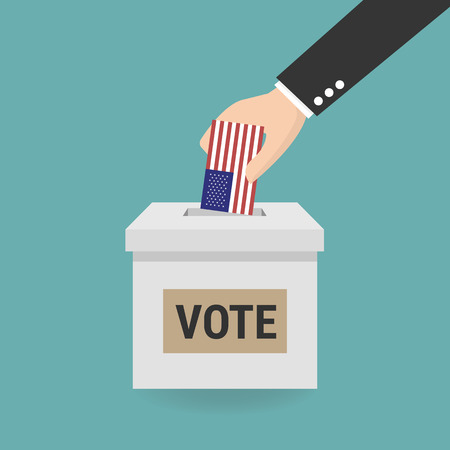 US Presidential election, Concept of election, Hand putting voting paper in the ballot box.