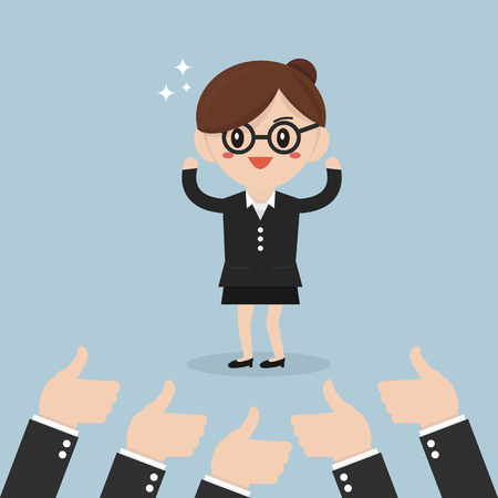 many hands: Businesswoman and many hands with thumbs up. Illustration