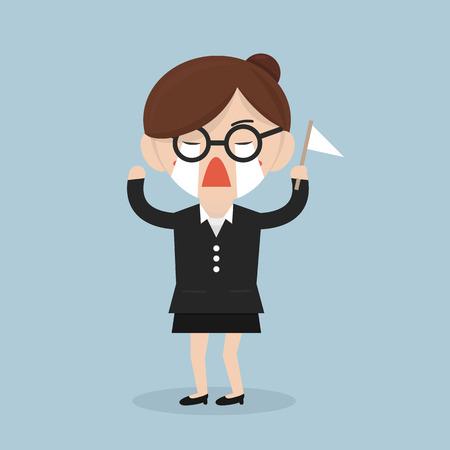 Businesswoman surrender