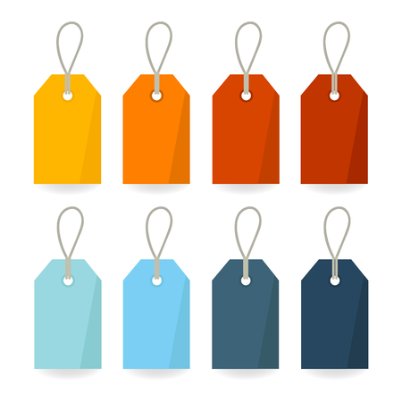 Empty Retro Colorful Vector Labels with Strings Isolated on White Background