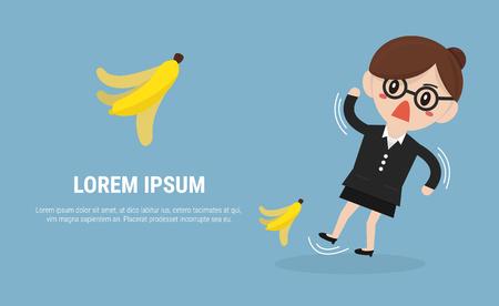 banana peel: Businesswoman slipping on a banana peel. vector. flat design