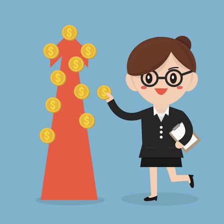 crop margin: Businesswoman and money tree. Illustration