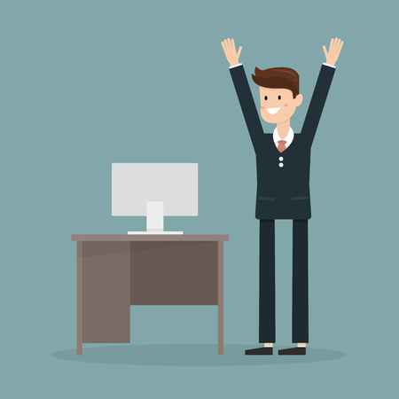 epicurean: businessman happy when the end of the month. vector