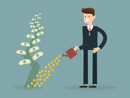 Businessman is watering a tree of money. Increase revenue, investment. Isolated illustration, flat, vector EPS10. Illustration