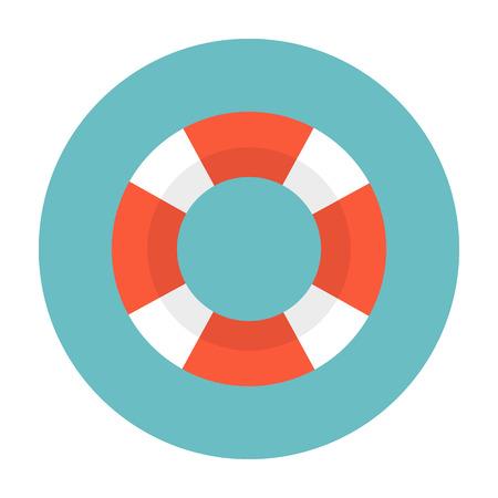 Lifebuoy flat web icon.