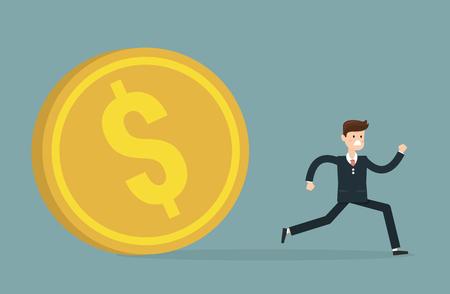 obligation: Escape from debts, inflation or financial crisis concept design. Scared businessman running away from huge golden dollar coin