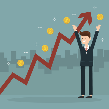 rebound: Businessman and growth chart ,a lot of money. Chart growth and success concept. Cartoon Vector Illustration.